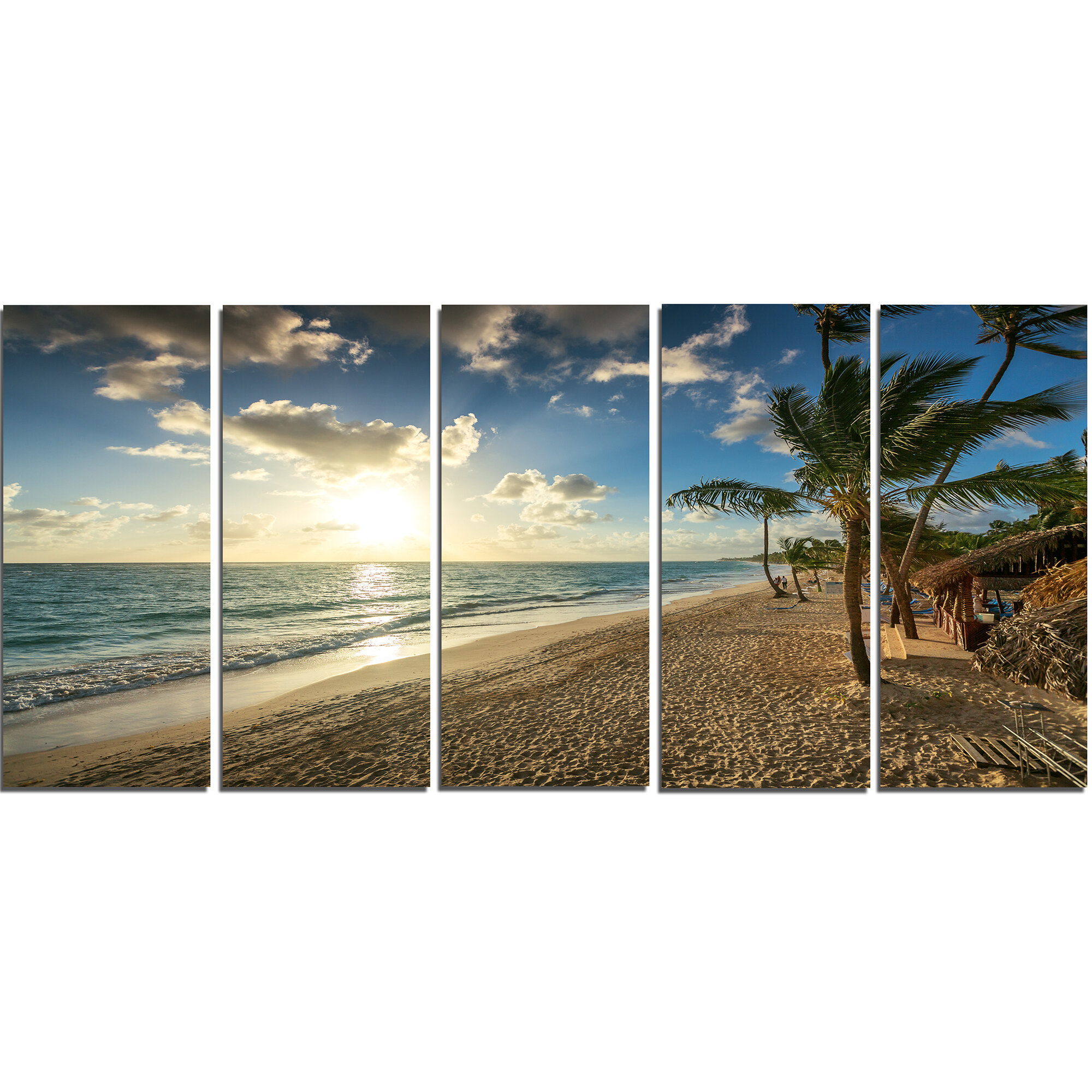 Designart Beautiful Caribbean Vacation Beach 5 Piece Photographic Print On Wrapped Canvas Set Wayfair