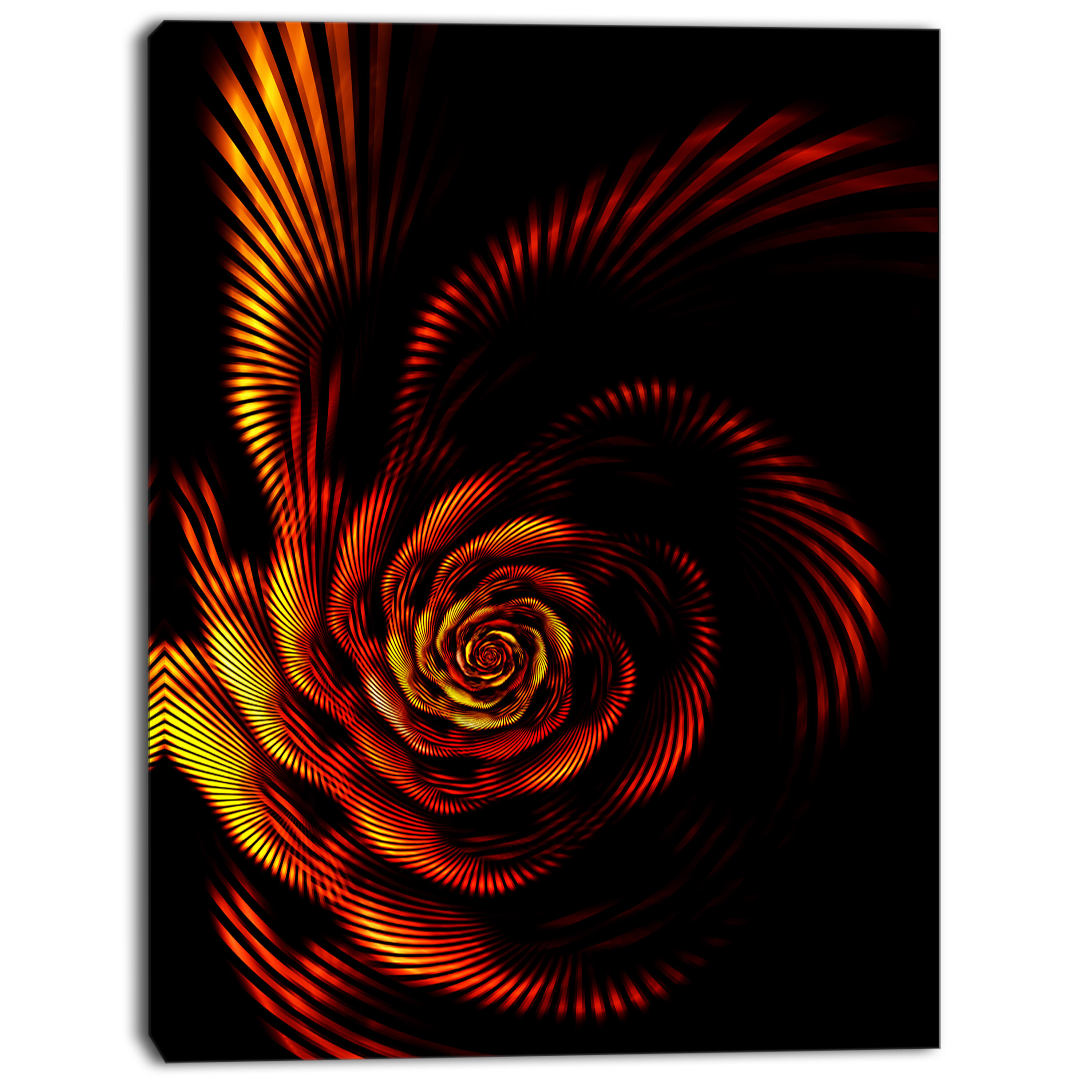 Designart Fiery Rose Fractal Flower Of Passion Graphic Art On Wrapped Canvas Wayfair