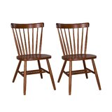 Aubrianna Solid Wood Windsor Back Side Chair in Medium Brown (Set of 2) by Three Posts™