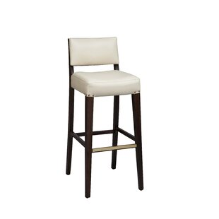 Amoroso Beechwood Solid Back Fully Upholstered Seat Bar Stool Red Barrel Studio