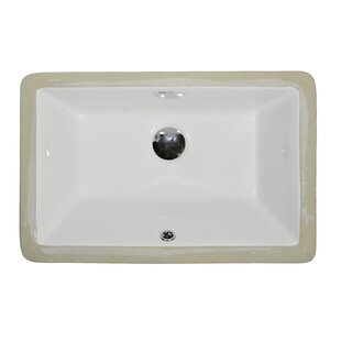 UCore Ceramic Rectangular Undermount Bathroom Sink with Overflow