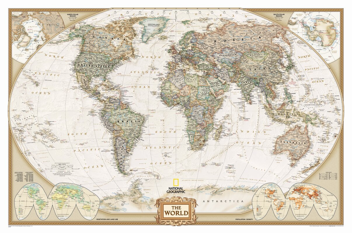 National Geographic Maps World Executive Wall Map Reviews Wayfair - Wall atlas