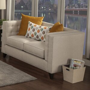Pesce Contemporary Flared Arm Loveseat by Br..