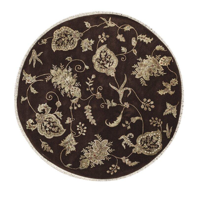 Bokara Rug Co., Inc. One-of-a-Kind Dharma Handwoven Round 81 Wool/Silk Brown Area Rug