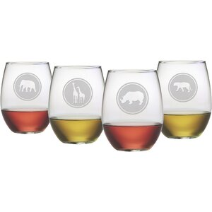 African Animals Stemless Wine Glass