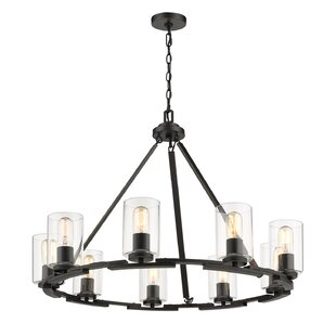 Williston Forge Saylor Convertible 9-Light Wagon Wheel Chandelier
