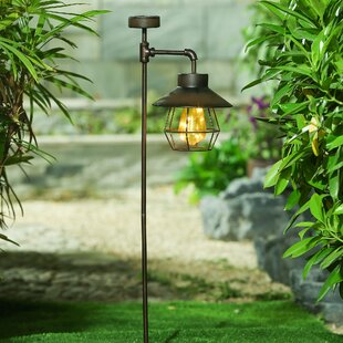 Winsome House Offset Lantern Solar Garden Stake Pathway Light