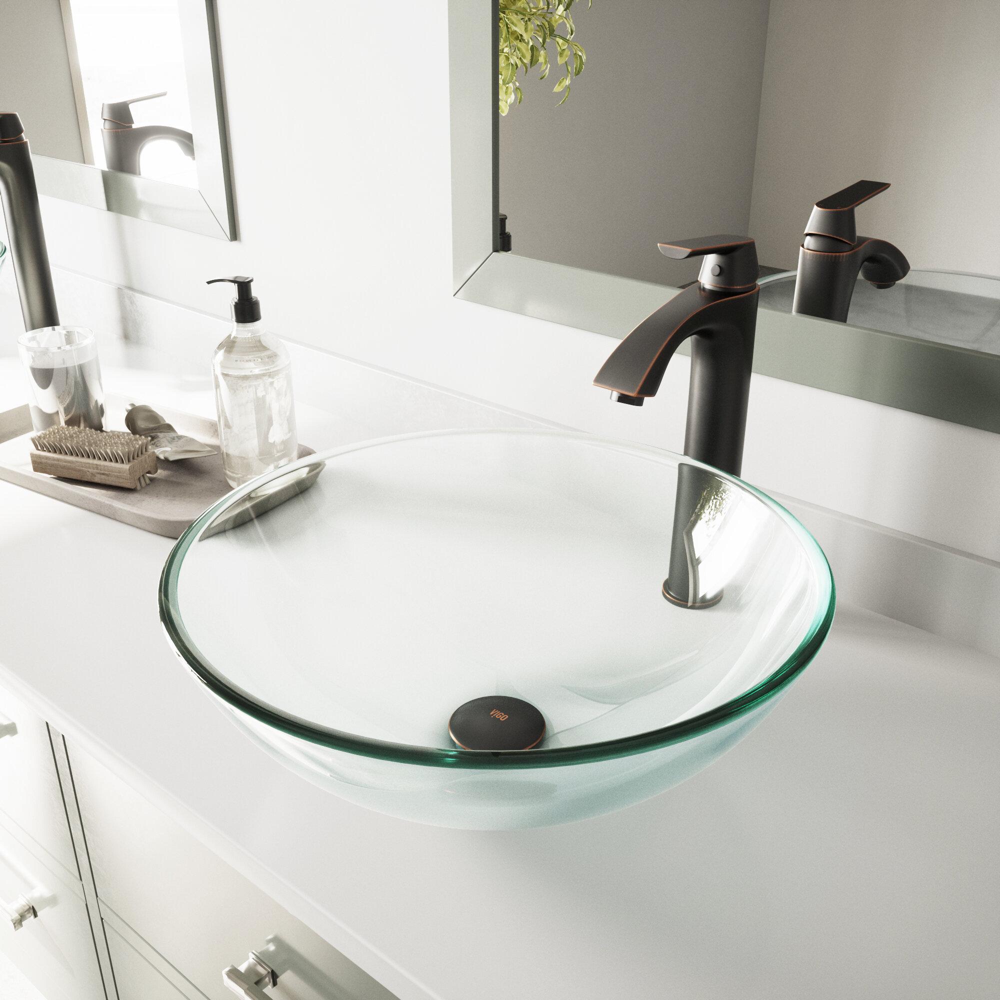 VIGO VIGO Tempered Glass Circular Vessel Bathroom Sink & Reviews ...