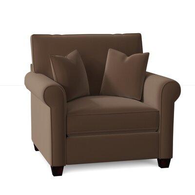Reon Armchair Red Barrel Studio? Body Fabric: Spectrum Caribou, Throw Pillow Fabric: Devol Cobblestone, Mattress Type: Innerspring Mattress