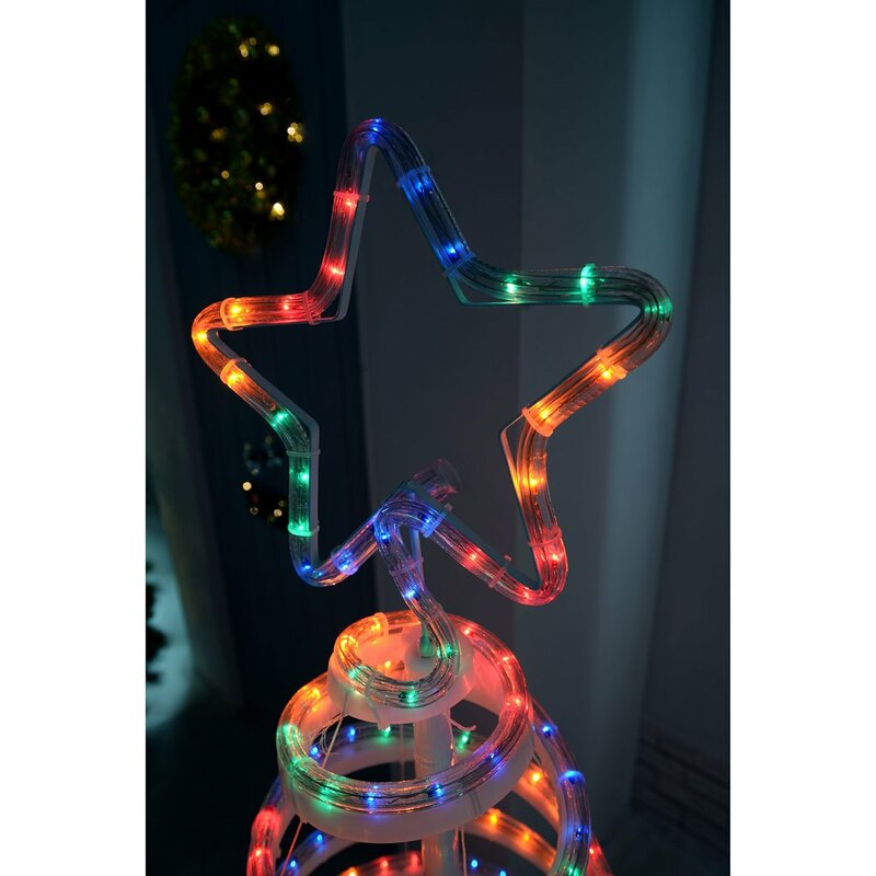 The seasonal aisle flashing 3d spiral christmas tree snowman 152m flashing 3d spiral christmas tree snowman 152m led rope lighted display aloadofball Images