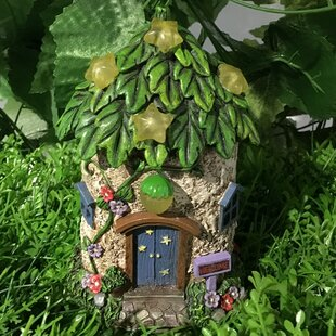 Exceptional Fairy Garden House With Leaf Roof And Stars   Solar LED Lights Statue
