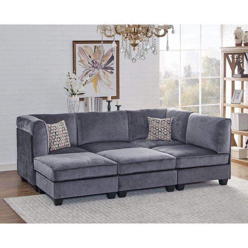 Ivy Bronx Marylou Modular Velvet Sofa