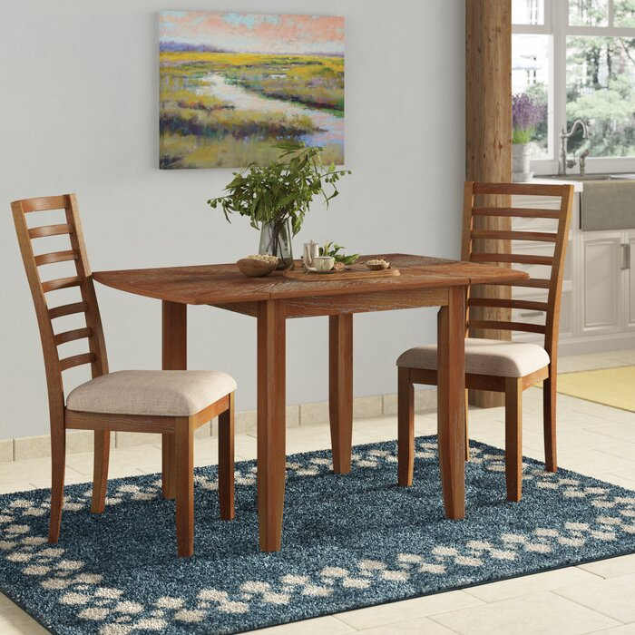Forsyth 3 Piece Drop Leaf Solid Wood Dining Set