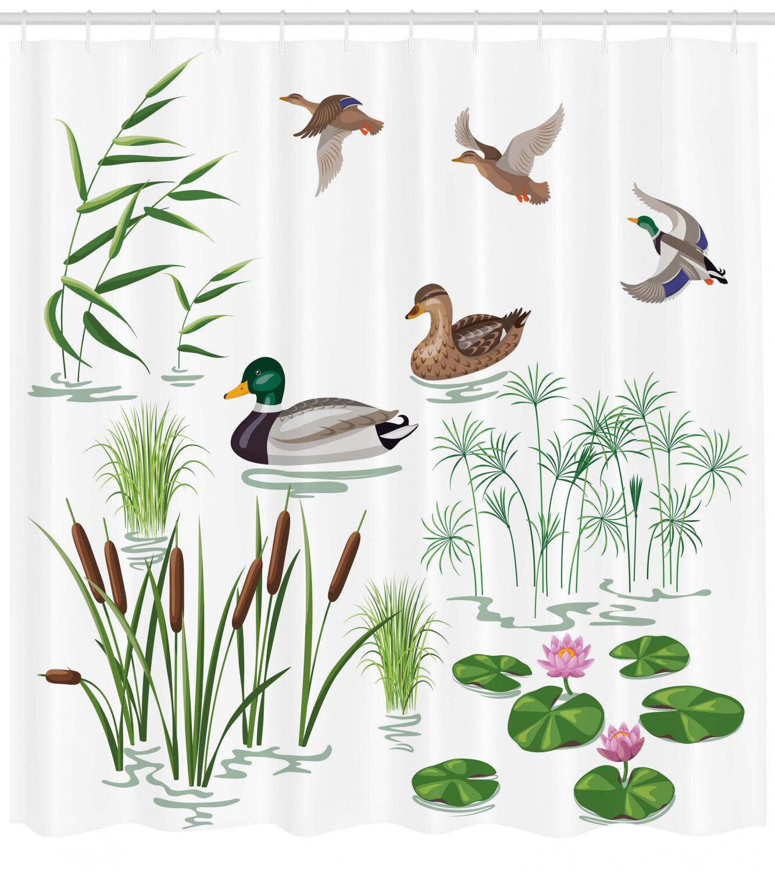 Winston Porter Beals Lake Animals Plants Lily Shower Curtain Hooks Wayfair