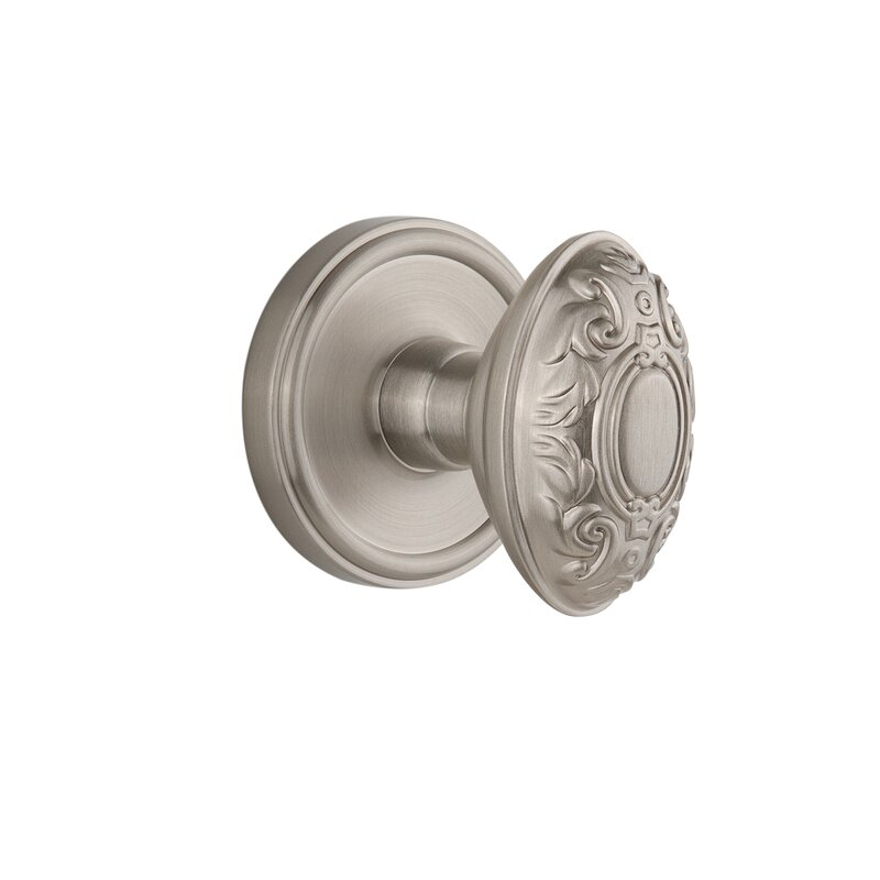 Satin Nickel Double Dummy Grandeur Grande Victorian Plate with Grande Victorian Knob