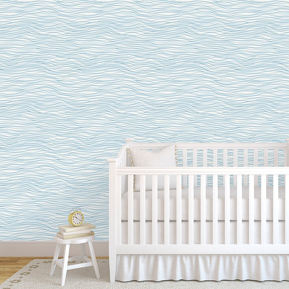 Jazmyn Double Waves 48 L X 24 W Paintable Peel And Stick Wallpaper Panel