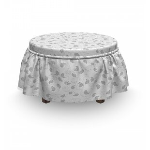 Classical Floral 2 Piece Box Cushion Ottoman Slipcover Set By East Urban Home