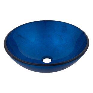 Novatto Verdazzurro Glass Circular Vessel Bathroom Sink