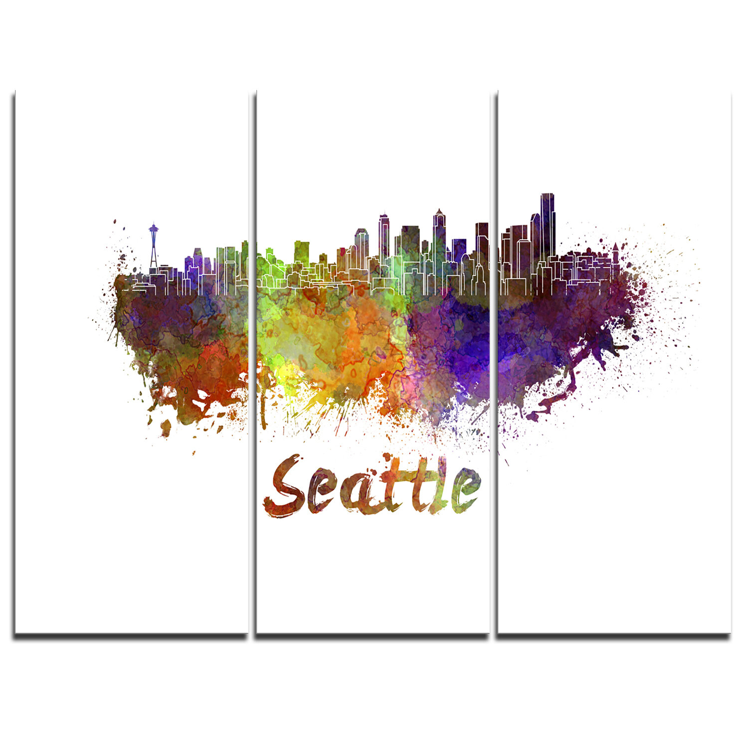 Designart Seattle Skyline 3 Piece Graphic Art On Wrapped Canvas Set Wayfair