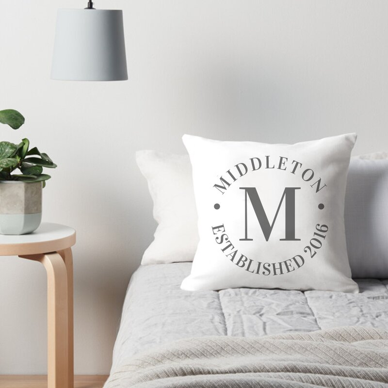 Personalized Family Name and Year Throw Pillow