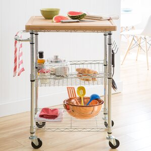 Taunton Kitchen Cart with Wood Top by Andover Mills