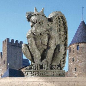"Medieval Guardian Gargoyle Atop Gothic Architectural Spire Sculpture 30/"""