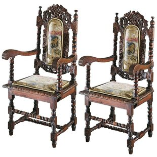 Charles II Upholstered Dining Chair (Set of 2) Design Toscano