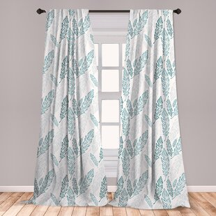 Ambesonne Teal And White Curtains, Pastel Colored Grunge Looking Feathers  Flying Bohemian Ethnic, Window Treatments 2 Panel Set For Living Room ...