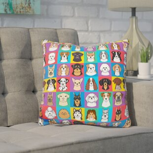 Folk Dog Throw Pillow