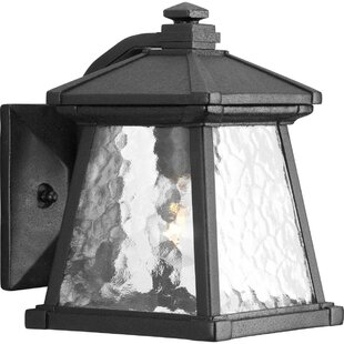 Compare prices Triplehorn 1-Light Outdoor Metal Wall Lantern By Alcott Hill