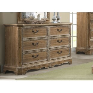 Elena 6 Drawer Double Dresser with Mirror