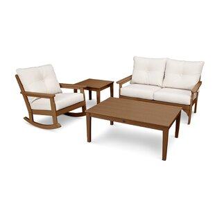 POLYWOOD® Vineyard Deep Seating 4 Piece Conversation Set with Cushions