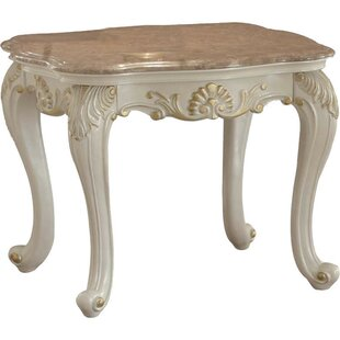 Allyson Marble Top Wooden End Table