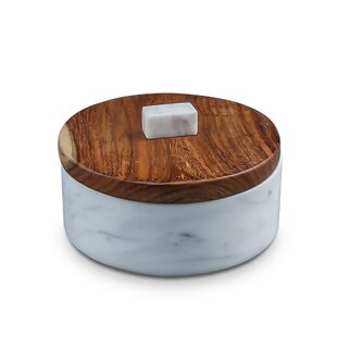 Fallston Short Sheesham Wood & Marble Kitchen Canister