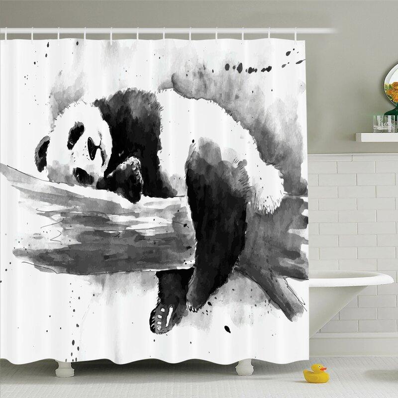 Sleeping Panda Shower Curtain Set