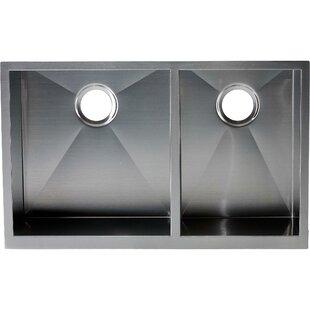 hardy 22   x 33   double bowl kitchen sink 28 inch kitchen sink   wayfair  rh   wayfair com