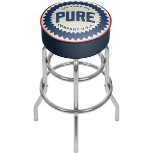Pure Oil Wordmark Swivel Bar Stool by Tra..