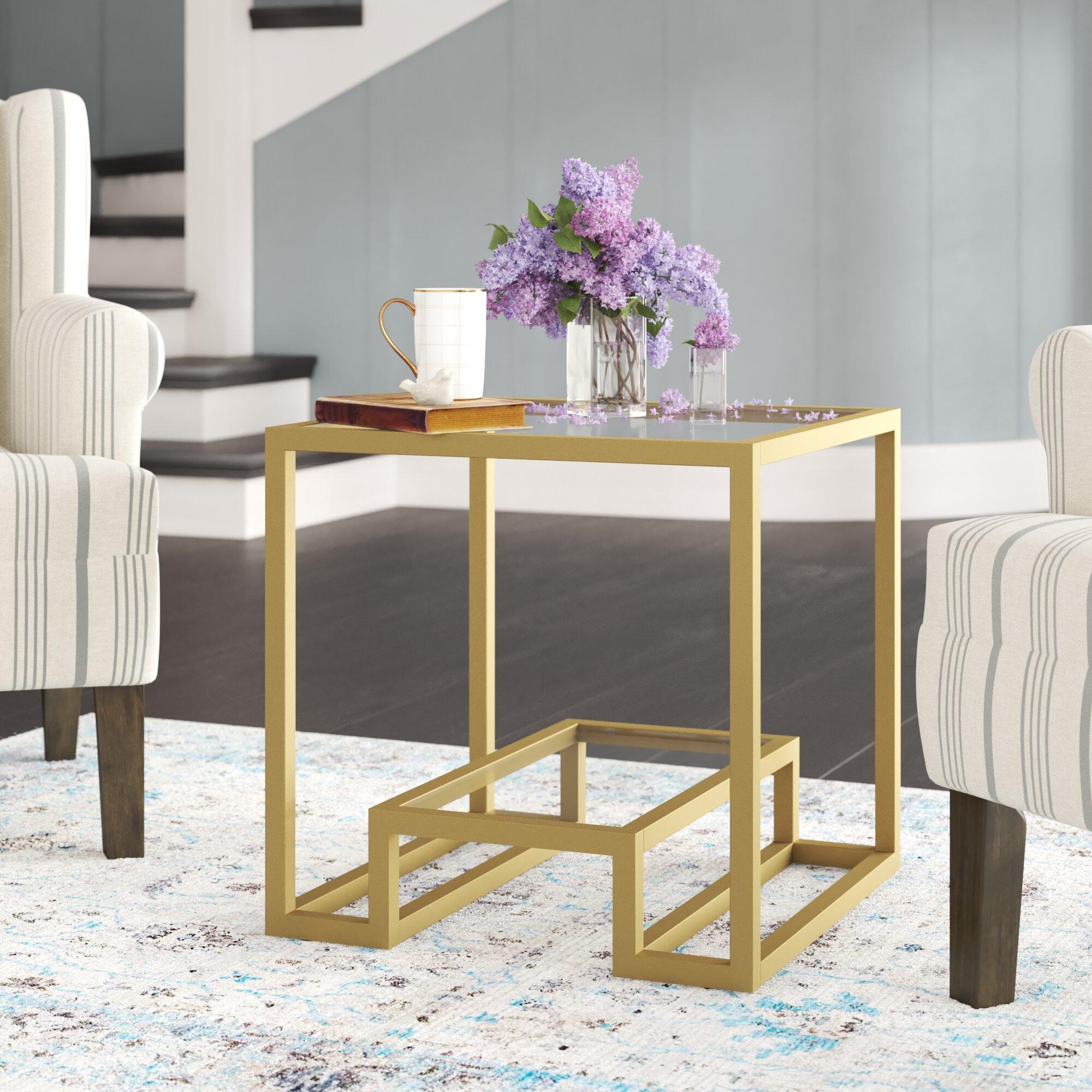 Mercer41 Imel Glass Top Frame End Table Reviews Wayfair