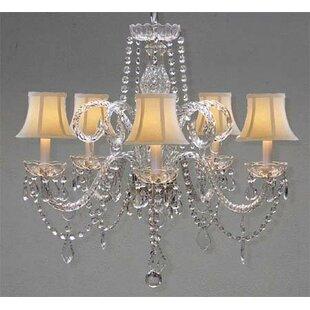 House of Hampton Karg Swarovski 5-Light Shaded Chandelier