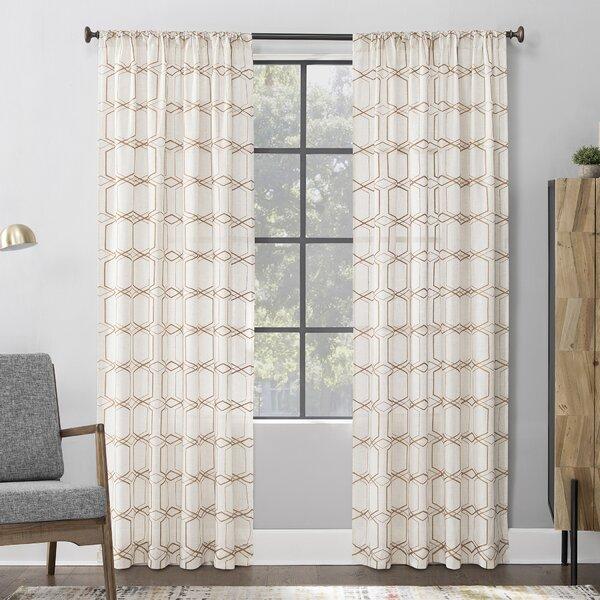 Scott Living Certo Linen Geometric Sheer Rod Pocket Single Curtain Panel Reviews Wayfair