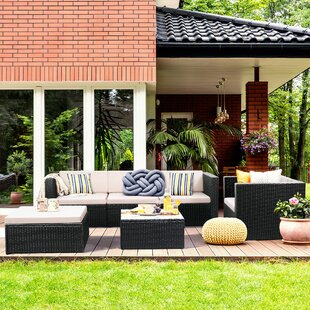 Jack 6 Piece Rattan Sofa Seating Group with Cushions