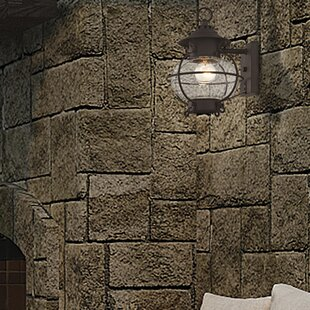 Longshore Tides Shielo 1-Light Glass Shade Outdoor Wall Lantern