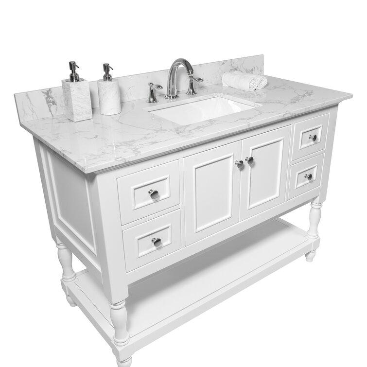 Watqen 37 Single Bathroom Vanity Top In White With Sink Reviews Wayfair