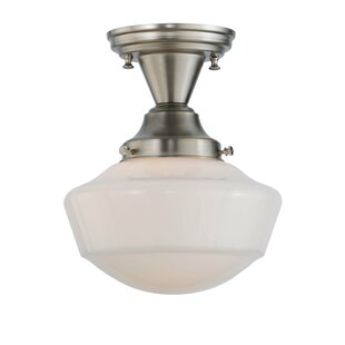 Meyda Tiffany Revival Schoolhouse Globe 1-Light Semi-Flush Mount