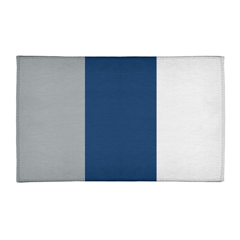 Striped Light Gray Blue White Area Rug