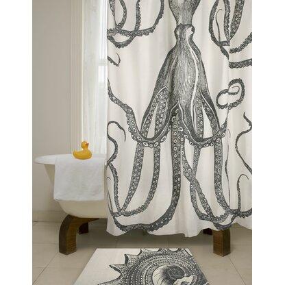 Bath Octopus Cotton Single Shower Curtain
