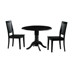 Kaiser 3 Piece Drop Leaf Solid Wood Dining Set Millwood Pines