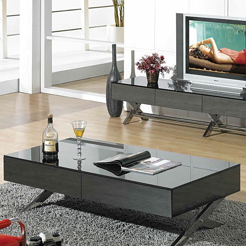 Emerson Rectangular Mod Swivel Coffee Table W Glass: Wade Logan Garry Coffee Table & Reviews