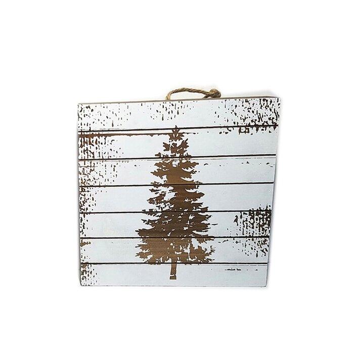 Christmas Tree Wood Plank Sign Table Top Wall Decor