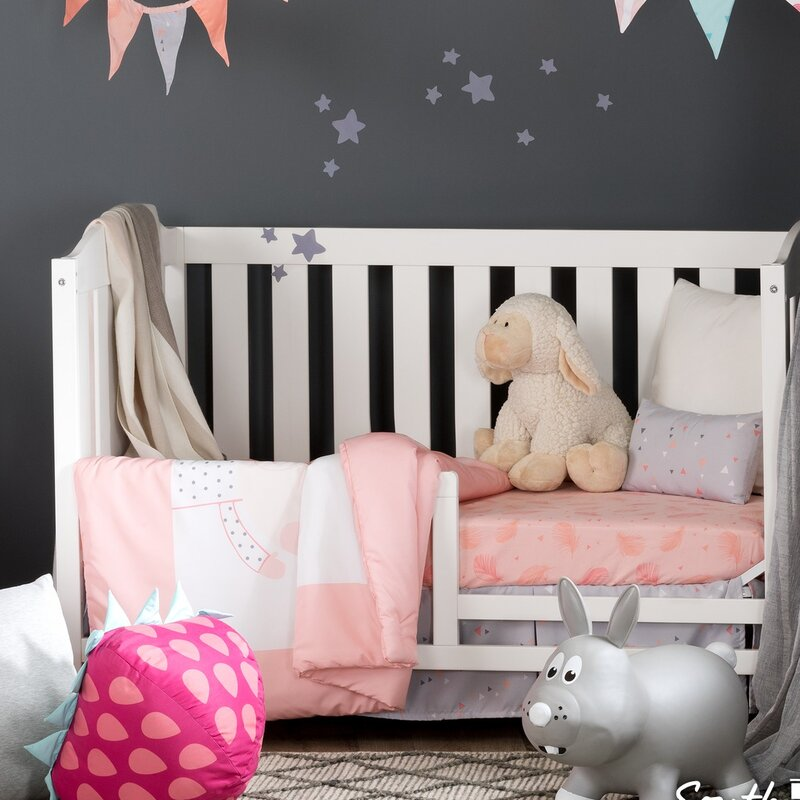 South Shore Furniture 100100 DreamIt Pink Doudou The Rabbit 3-Piece Baby Crib Bed Set and Pillow
